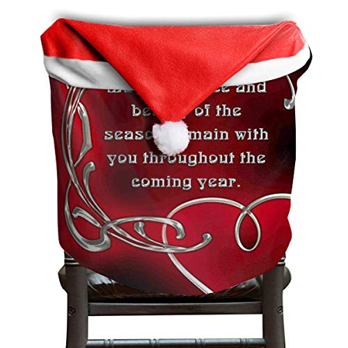 EDYE Religious Merry Christmas Clip Art Christmas Xmas Themed Dinning Seat Chair Cap Hat Covers Ornaments for Backers Slipcovers Wraps Coverings Decorations Protector Set -