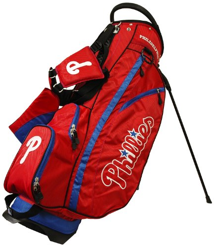 (Team Golf MLB Philadelphia Phillies Fairway Golf Stand Bag, Lightweight, 14-way Top, Spring Action Stand, Insulated Cooler Pocket, Padded Strap, Umbrella Holder & Removable Rain Hood )