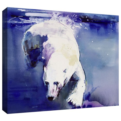 ArtWall Mark Adlington 'Underwater Bear' Gallery Wrapped Canvas Artwork, 36 by 48-Inch Polar Bear Wood