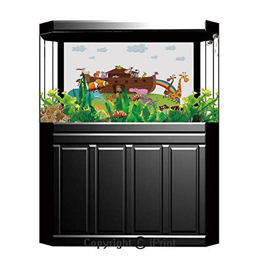 Fish Tank Background Decor Static Image Backdrop,Noahs Ark,Various Safe Animals Two of Every Kind Boarding Noahs Ark Clip Art Design Print,Multicolor,Underwater Ecosystem Photography Backdrop for Phot ()
