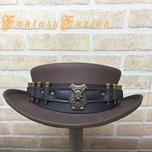 Steampunk Hat Bounty Hunter Post-Apocalyptic Skull and Bullets Hatband Leather SHORT Top Hat 2 Tones (Post Apocalyptic Larp Costume)