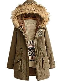 Women's Winter Jacket Casual Thicken Hooded Fleece Lining Zipper Padded Coat