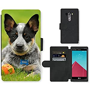 PU Cuir Flip Etui Portefeuille Coque Case Cover véritable Leather Housse Couvrir Couverture Fermeture Magnetique Silicone Support Carte Slots Protection Shell // V00000808 Patrón del perro de perrito // LG G4 H815