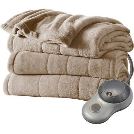Sunbeam Electric Heated Plush Blanket with 10 Heat Settings and Automatic ShutOff, Twin Size, Mushroom (West Point Infrared Heater compare prices)
