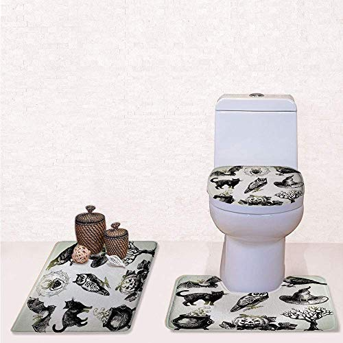 Print 3 Pcss Bathroom Rug Set Contour Mat Toilet Seat Cover,Halloween Related Pictures Drawn by Hand Raven Owl Spider Black Cat Decorative with Black White,decorate bathroom,entrance door,kitchen,b -