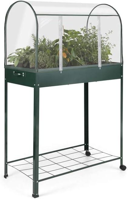 909 OUTDOOR Jardín Invernadero Portátil, Pequeño Invernadero con 2 Ruedas y un Estante, con Cubierta de Plástico Transparente, para Interiores y Exteriores, 80 x 43 x 128 cm: Amazon.es: Jardín