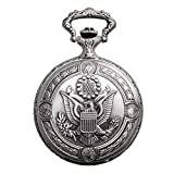 Daniel Steiger Flying Eagle Luxury Vintage Hunter Pocket Watch - Hand-Made Hunter Pocket Watch - Engraved Flying Eagle Design - White Dial With Black Roman Numerals