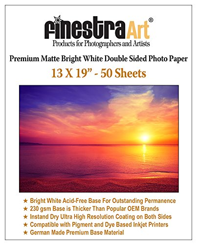 13x19'' 50 Sheets Premium Matte Bright White Inkjet DS Photo Paper 230gsm ...