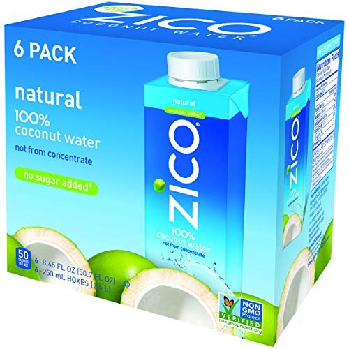 Zico Natural Coconut Water, 8.45 Fluid Ounce (Pack of 6)