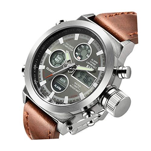 Tamlee Fashion Men's Digital Analog Sport Wrist Watch with PU Leather Strap EL Backlight (Silver)