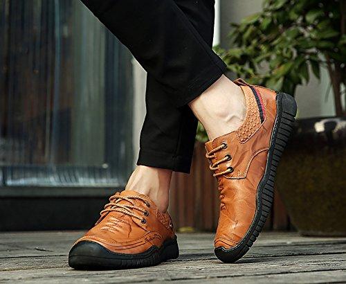 Regenstar Heren Casual Lage Schoenen Cowskin Oxford-schoenen Klassieke Mocassin Lichtbruin-veter