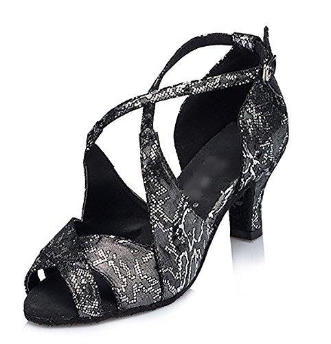 Fond Chaussures Mou daim Danse Imprimé Womens Salon Moderne De Wymname Latine Noir EqTp4w0n8