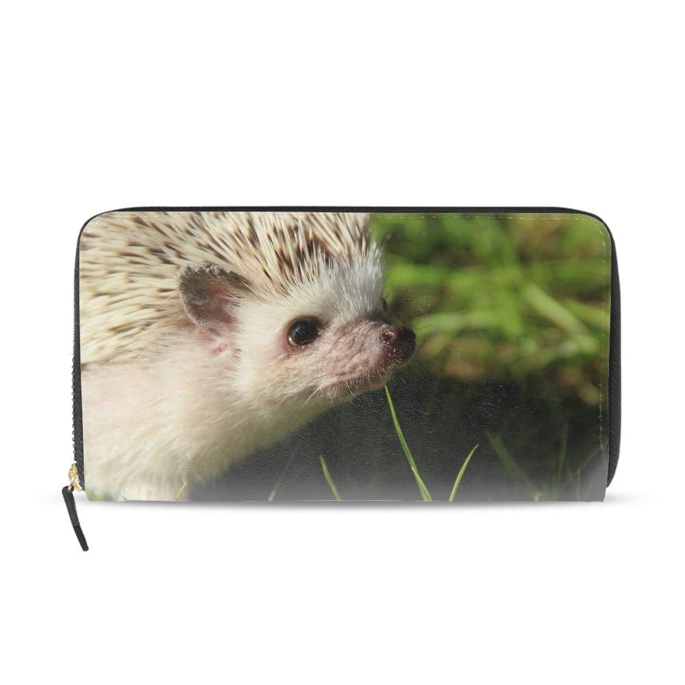 Pink Hedgehog Wallets for Women Card Holder Zipper Purse Phone Clutch Wallet