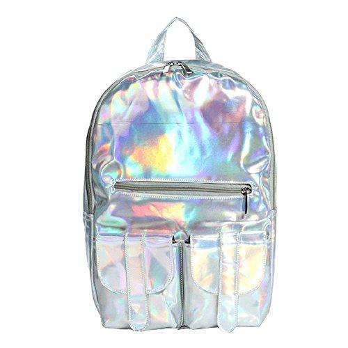 M-bag Mode féminine Bright Laser Hologram Pu Sac à bandoulière Sac à dos d'école, Violet (violet) - Bc24884 Silver