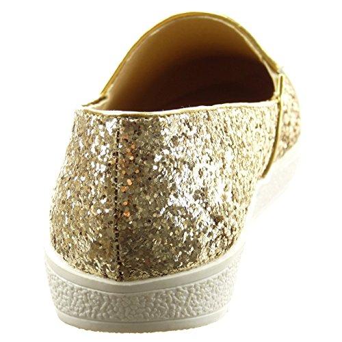 Sopily - Chaussure Mode Ballerine Cheville femmes Brillant pailettes verni Talon bloc 2 CM - Or