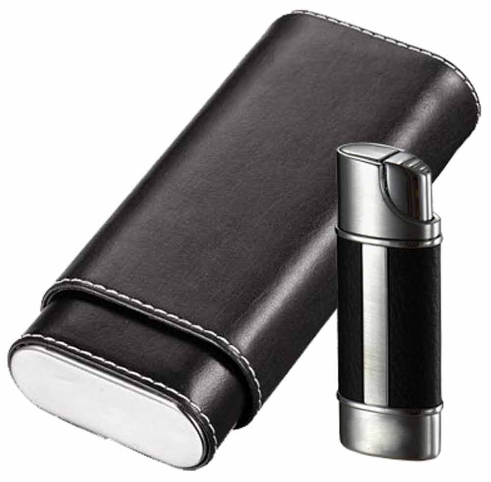 Visol ''Naturale'' and ''Piccolo'' Cigar Case and Lighter Gift Set