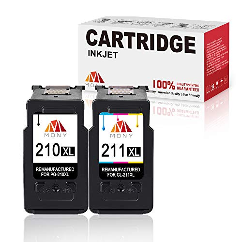 - Mony Remanufactured Canon PG-210 CL-211 XL Ink Cartridges (Black & Tri-Color, 2 Pack) Replacement for Canon Pixma MP495 MP480 MP250 MP280 IP2702 MX340 MX410 Printers, Ink Level Display
