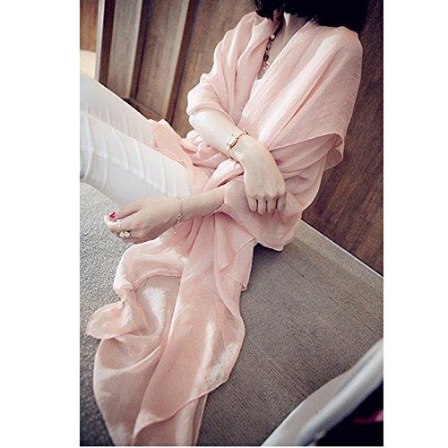 BEEST-Pure chiffon Bufanda Bufanda con una bufanda, un chal, acondicionador de aire, un chal, toalla, protector solar,Mei Hong, 230*145 Pink