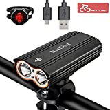 Lospu HY USB Rechargeable Bike Light Set, Super Bright Waterproof 2400 Lumens Bike Headlamp and Taillight Easy to Mount Fit Mountain Kids Bikes