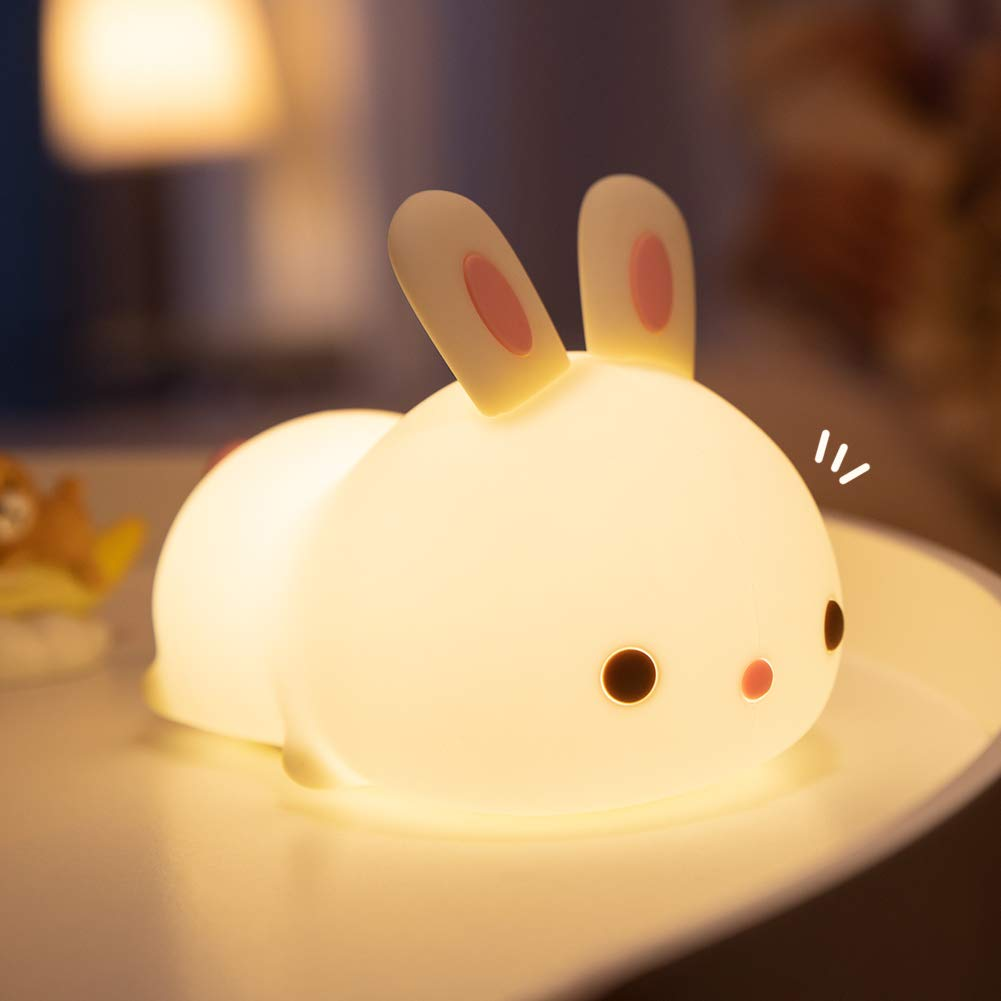 LED Nursery Night Lights for Kids - Cute Bunny Animal Silicone Baby Nightlight with Touch Sensor, Best Gifts for Adult Boys Girls Kids