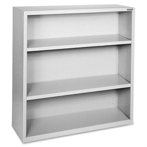 Lorell LLR41283 Fortress Series Steel Book Case, Light Gray - Series Metal Bookcases