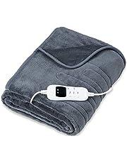 sinnlein® warmtedeken van pluche 200 x 180 cm grijs gecertificeerd door TÜV SÜD GS | elektrische deken met automatische uitschakeling | woondeken | timerfunctie | 9 temperatuurstanden | wasbaar tot 40°C | digitaal display