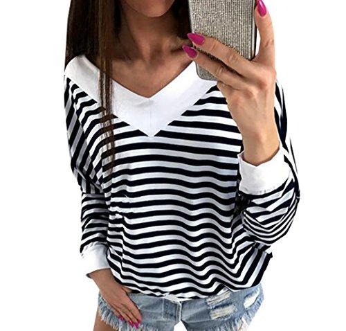 Sweat Casual Fashion Col Shirts et Tee Patchwork Tops Lache Shirts Blouse Printemps Longues Raye Noir Shirts V Femmes Hauts Manches Automne T Jumper qvCnOwI