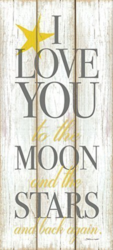 Adorable Grey and Yellow I Love You to the Moon and Stars and Back Again; Childrens Room Decor; One 8x18in Poster Print. (Printed on paper, not wood)