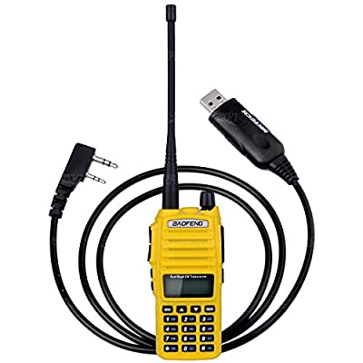 NKTECH USB Cable and BaoFeng UV-82 Dual Band VHF UHF 136-174/400-520MHz 5W FM Ham Double PTT Two Way Radio Walkie/Talkie 7.4V Li ion Batteries Accessories Warranty Yellow