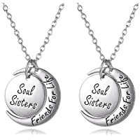 Set of 2 Soul Sisters Friends For Life Inscribed Silver Tone Matching Necklaces Jewelry Gift for Best Friends...