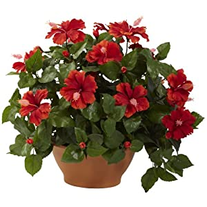 Nearly Natural 6735 Hibiscus Artificial Plant with Clay Planter, Green/Red 118