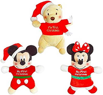 b5c69ac18 Disney Christmas Plush Toys Set for Baby Boys and Girls -- 3 Musical Plush  Toys in My First Christmas Outfit (Mickey Mouse, Minnie Mouse, Winnie the  Pooh) ...