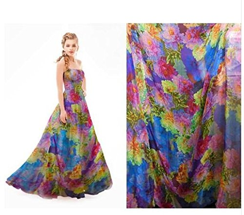 (Express$ VIVID STUNNING Gorgeous 100% Pure Silk Printed Silk Chiffon Fabric 6 momme for DressMaking By The Meter npc)