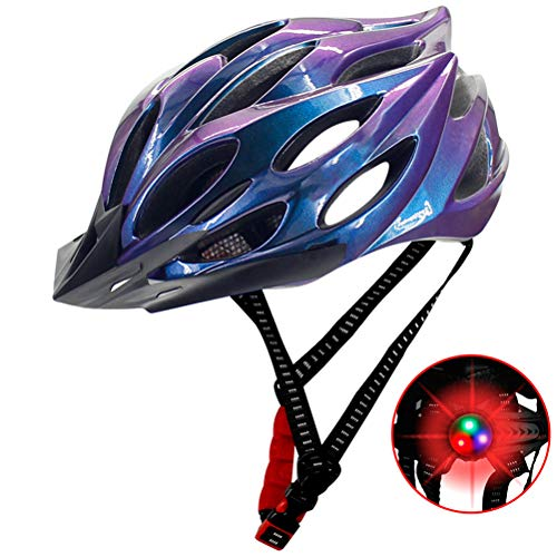 Bicycle Helmet with Safety LED Light, CE Safety Certification,Safety Adjustable Mountain Road Cycle Helmet Light Bike…