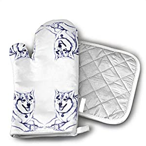 ACHT Keanu The Alaskan Klee Kai Fabric (8787) Heat Resistant Hot Oven Mitts & Pot Holders for Kitchen Oven Gloves for BBQ Cooking Baking, Grilling 21