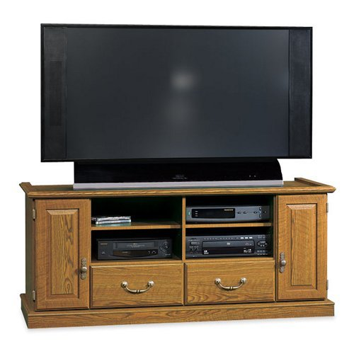Sauder 418654 Orchard Hills Entertainment Credenza, Milled Cherry Finish, Holds up to a 55