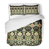 SanChic Duvet Cover Set Andalusia Border Arabian Arabic Iranian Lattice Moroccan Decorative Bedding Set 2 Pillow Shams King Size