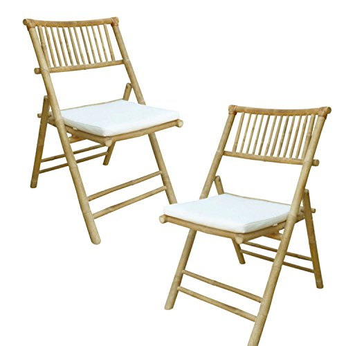 Zew Hand Crafted Foldable Bamboo Armless Outdoor Patio Chair with Curved Back and Comfotable Cushion, Set of 2 Folding Chairs,  Natural (Wicker Back Dining Chairs)