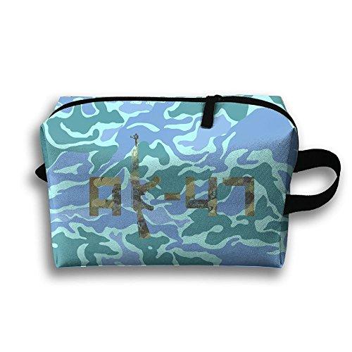 Camo AK-47 Oxford Travel Toiletries Bag Sturdy Organizer Cosmetic Handbag For Women Men Portable