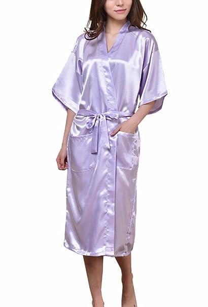 ECHERY Unisex Kimono de Satén de Seda Suave Dormir Albornoz Batas Vestido de Ropa de Dormir: Amazon.es: Ropa y accesorios
