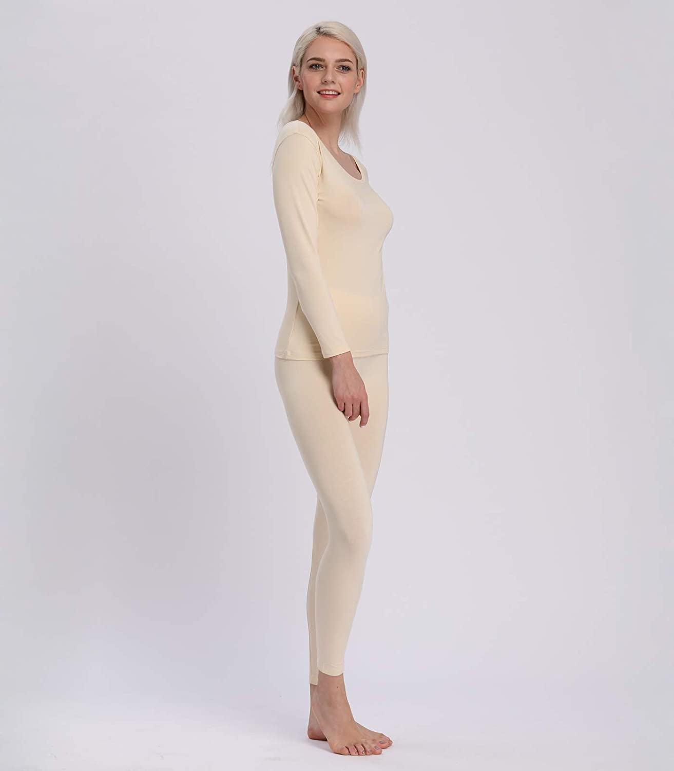 Liang Rou Womens Round Neck Thermal Long Johns Underwear Set