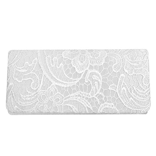 Stebcece Woman Ladies Floral Satin Lace Party Evening Clutch Wedding Bridal Purse Bag (white)