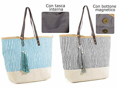 and Stripes C Ideapiu Tassel Bag deco 2 Handles nbsp;PU Fabric qwnCa7x4T