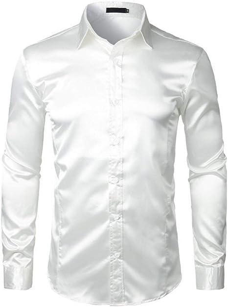 YFSLC-Studio Camisa De Manga Larga Hombre,Hombres Camiseta Blanca Rayón Elegante Casual Slim Fit De Manga Larga Vestido De Boda Negocios Cómodas De Llevar Camisa Masculina: Amazon.es: Deportes y aire libre