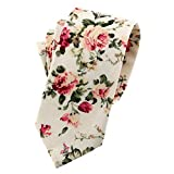 Mantieqingway Men's Cotton Printed Floral Neck Tie 014