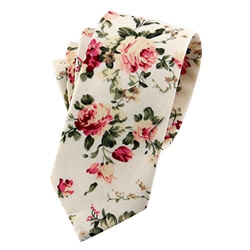 (Mantieqingway Men's Cotton Printed Floral Neck Tie 014)