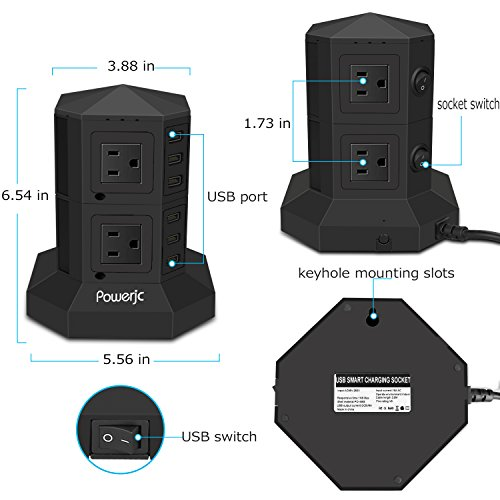 Tower Power Strip Surge Protector 8 AC Outlets with 6 Usb ports Chargers Black-Powerjc by Powerjc (Image #3)