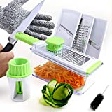 Heavy Duty Handheld Vegetable & Cheese Mandolin Slicer, Grater, Julienne & Spiralizer | 4 Stainless Steel Blades | Food Container & Storage Lid | Kitchen Slicing Tool | Cut Resistant Gloves Included