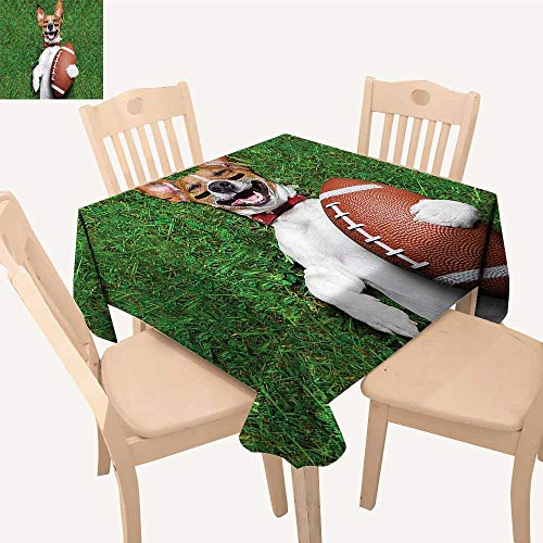 UHOO2018 Printed Fabric Tablecloth Square/Rectangle Soccer Dog Holding Rugby and Laughing Out Loud Funny Comic Joke Wedding Party Restaurant,50x -