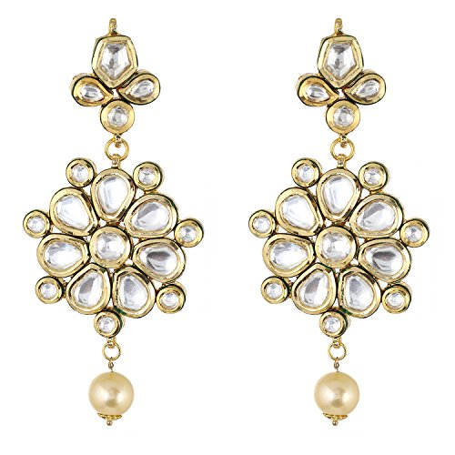 Be You Brilliant White Colour Kundan Meena Work Rhodium Plated Brass Dangle Earring for Women ()